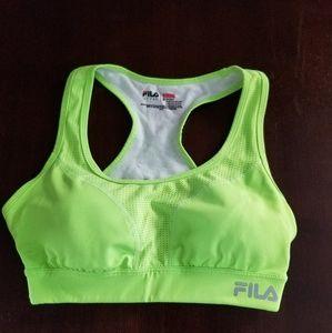 Fila neon green running sport bra